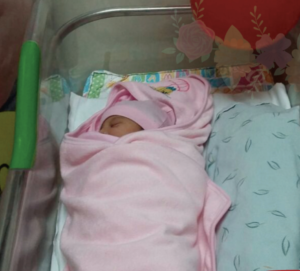 This is Vanesa, the very first baby born in the new RMHC maternal/child health program at Hesburgh Hospital.